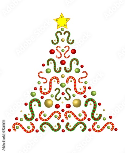 Festively decorated christmas tree with space for text