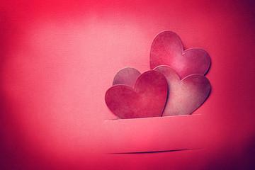 Handmade paper craft Valentine hearts