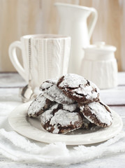 Chocolate Crinkles. Chocolate cookies in powdered sugar.