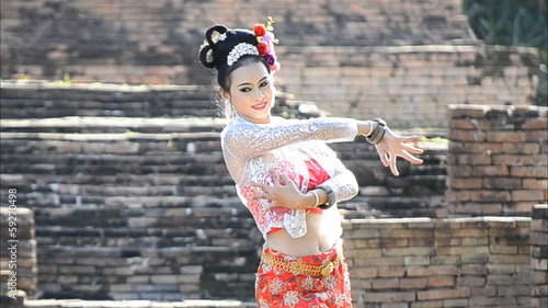 thai women traditional dancing of thailand (three shot)