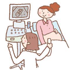 妊婦検診をうける女性