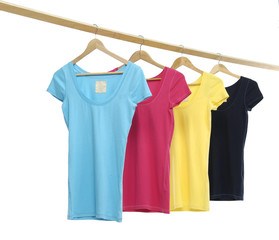 Four colorful shirt rack