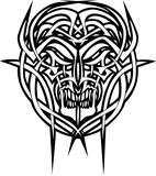 tattoo daemon face with tribal art