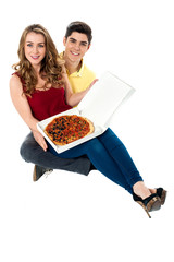 Let's share the yummy pizza