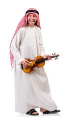 Arab man playing violing on white
