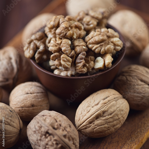 Food ingredients: walnuts, studio shot, close-up