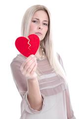 Frau unglücklich - Trennung oder Scheidung mit gebrochenem Herz