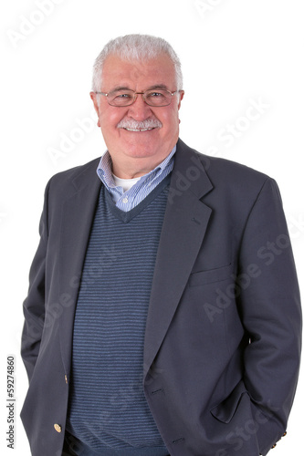 Friendly Senior Adult with Mustache Looking at You Happily with