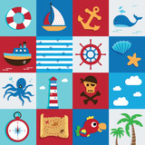 Nautical and Sea Set, Marine icon, pirate