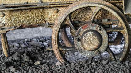 Derailed mine carriage wheel,  ground to a halt