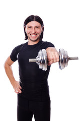 Man training with dumbbells on white