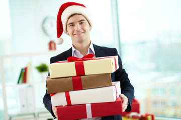 Businessman with presents