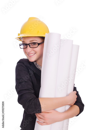 Young architect with drawings on white