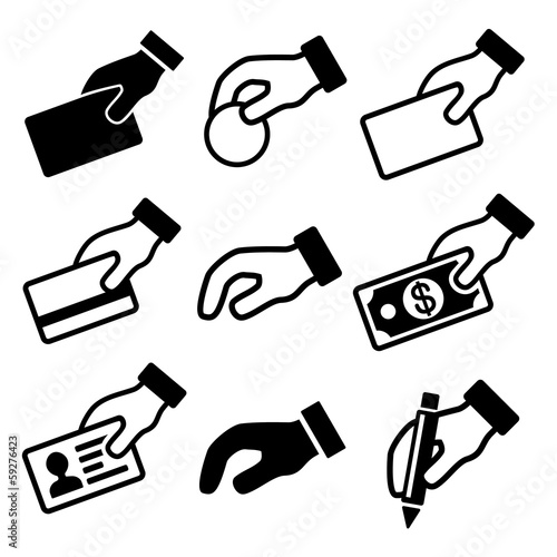 Hand with different objects icons set