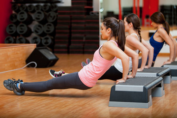 Group of women exercising