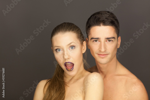 beautiful couple in studio portrait
