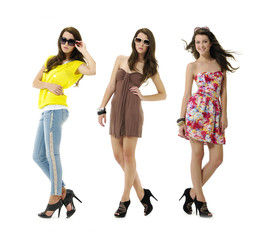 three shot of fashion model wearing sunglasses posing
