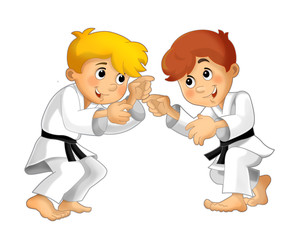 Cartoon child training - illustration for the children
