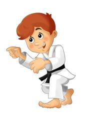 Cartoon child training - illustration for the children