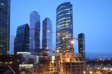 Moscow-City under construction at evening