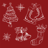 Christmas sketches, retro, sock, tree, bells, skates,
