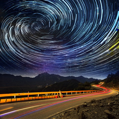High mountain road to galaxy