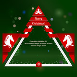 Modern Christmas & New Year Poster. Dark green backdrop with fla