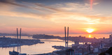 Vladivostok cityscape, sunset. With lens flare effect.