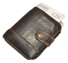 Old Leather Wallet And Bank Notes