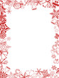 Red Christmas card frame and background