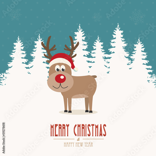 reindeer santa hat snow winter background
