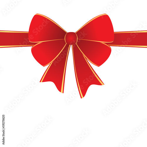 Red ribbon with centered bow