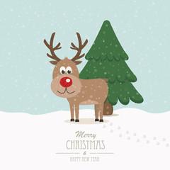 reindeer on snowy winter background