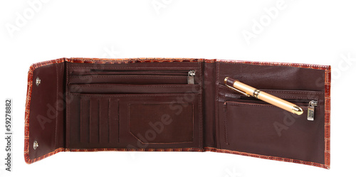 Opened brown leather purse.
