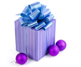 Christmas gift with Purple Ball and ribbon bow isolated on white