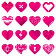 16 Abstract Pink Hearts