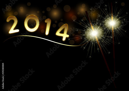 2014 Happy New Year background with sparklers
