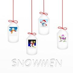 bigliettini con pupazzi di neve