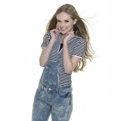 young leisure woman in casuals posing
