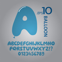 Blue Balloon Alphabet and Numbers Vector