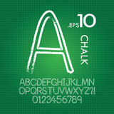 Line Chalk Alphabet and Numbers Vector
