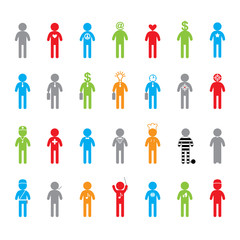 Colored people icon set
