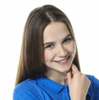 Girl in smile and blueT-shirt