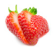 Strawberry. Sliced ​​fruit isolated on white
