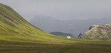 Iceland. South area. Fjallabak. Volcanic landscape with farm. poster