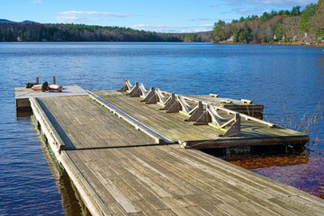 Floating dock leading to a small lake