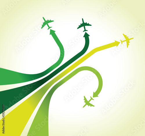 four green airplanes