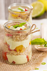 Verrine with quinoa, bell pepper and avocado