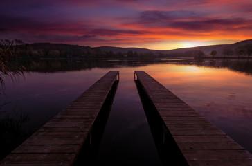 Mystical Landscape, two long pier at dawn