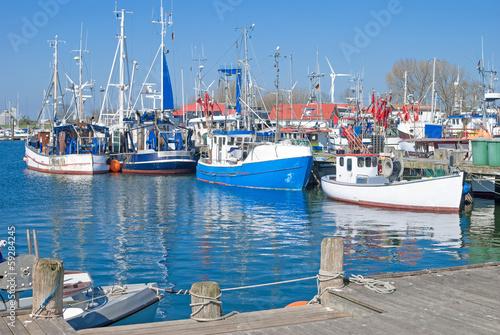 canvas print picture Hafen von Burgstaaken auf der Urlaubsinsel Fehmarn